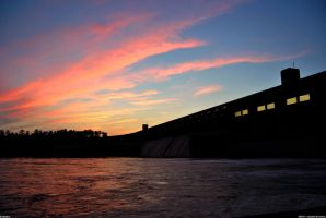 Sunset on Clark's Hill dam by Joseph-W-Johns