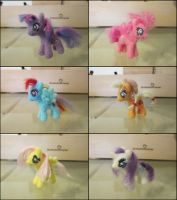Needle felted Mane Six by SnowFox102