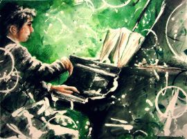 Pianist, Green. by Snapesdream
