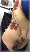 Script and roses by state-of-art-tattoo