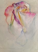 Rose oil pastel color pencil by emeseszorenyi