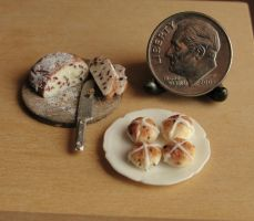 1:12 Scale Dutch Easter Bread and Hot Cross Buns by fairchildart