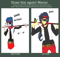Draw This Again meme: Aoikami by Jellygay