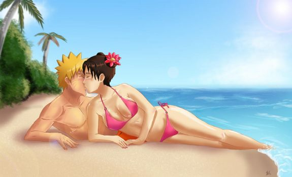 Commission: Naruto x Tenten - Summer Kiss by Amenoosa