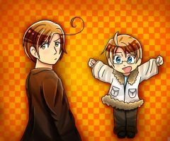 Romano and Chibi!America by Sakura2017