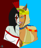 Day 2: Izanami and Bastet by The-Ice-Virus