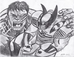 Wolverine Vs Hulk collage drawing by Smith-Of-Blades