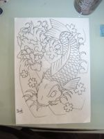 Koi Fish N Hannya Outline by GetSomeInk