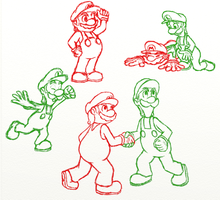Mario and Luigi: Dream Team doodles by cutegreendino