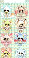 Colorful Cuties/ Chibi Adopts 7USD CLOSED by Hinausa