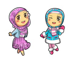 Chibi Hijabers by pink-crest