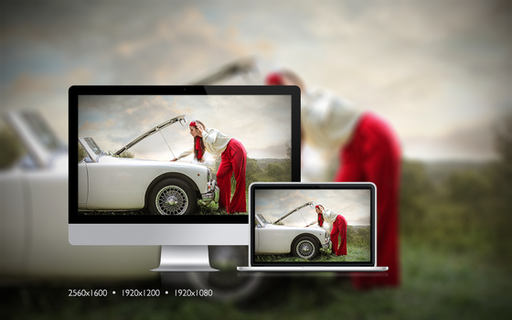 Lady in red trying to fix her car by yourdesktopangels
