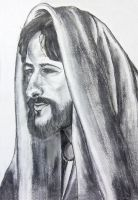 Old pencil drawing of Jesus Christ by RaynePhotography