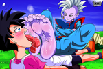 Commission - Kaioshin x Videl - Foot Worship by iruden