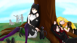 Team RWBY at the park by Madgamer2k7