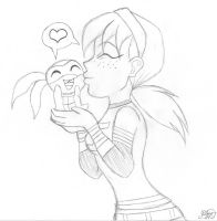April Loves Chibi Don -Sketch by HopeDiamond101