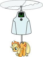 Jailbot and applejack by KennyKlent