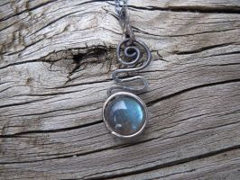Blackened Silver Spiral Pendant with Labradorite by whippetgirl