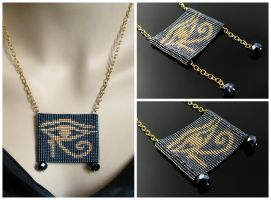 Bead loomed pendant Eye of Horus by CatsWire