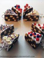 Polymer clay Chessboard cakes by DarkPartOfCarrot