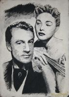 gary cooper, patricia neal in ink by ricardo-bruins