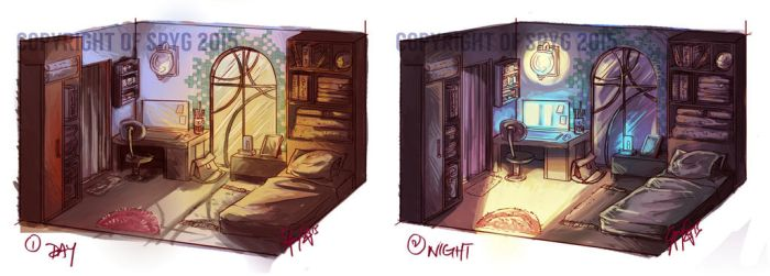 Conceptual Room Day and Night by SpyG