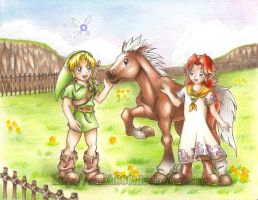 Link meets Malon and Epona by Hyrule-Legends