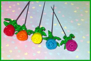 Rose Sewing Pins by softbluecries