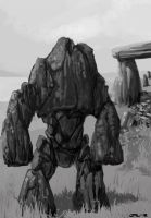 Crumbler, Stone Golem Dungeons and dragons by zelldweller