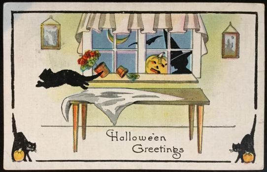 Vintage Halloween Postcard - Black Cats + Window by KarRedRoses