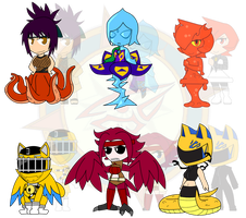 Assorted Chibis - AU Monster Girls by Dragon-FangX