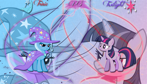 Trixie versus Twilight Wallpaper by LeonBrony