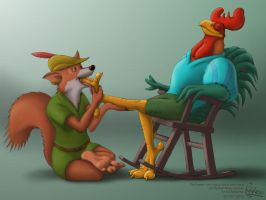 Alan-a-Dale and Robin Hood - Of Foxes and Fowl by RipRoarRex