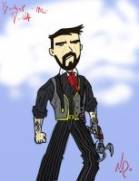 Booker DeWitt - Cartoon w/Sky Backdrop by ENDYS-ART-HELL