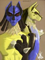 Lucario and Lucario by Avielsusej
