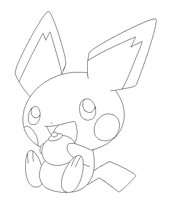 pichu lineart1 by michy123
