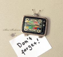 Tv cute polymer clay magnet (handmade) by Krinna