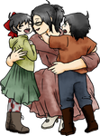 Art Trade: Me and the twins by yinyangswings