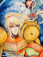 Watercolor Poster Samus Aran with Baby Metroid by Lemia
