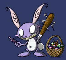 east bunny with bat by Coffeehouseartist