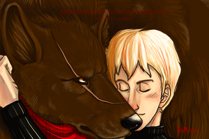 Red and wolf by AxMongrel