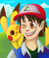 Ash and Pikachu by Kayotics