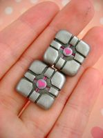 Companion Cube Cufflinks by monsterkookies