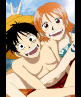 luffy and nami by Nishi06