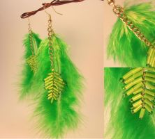 Feather earrings ^^ by pushis33