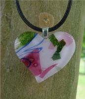 Pink Patch Heart Fused Glass1 by FusedElegance