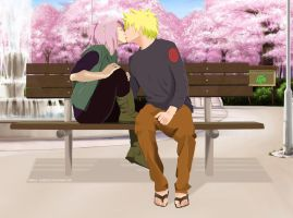 NaruSaku:Kissing at the Park by Jordan-Sanchez