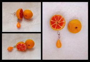 orange with drop earrings by PAPIPI