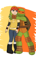 Mikey hugs April. by TMNTISLOVE