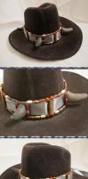 Old West Steampunk Buffalo-Horned Hat Band III by Windthin